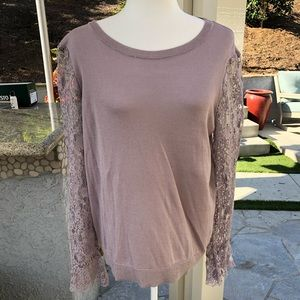 Purple Long Sleeve Tee with Lace by LOFT